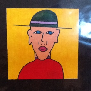 Man on Green-George Reeves-Mixed Media on Paper-8in x 8in-$20.00 unframed