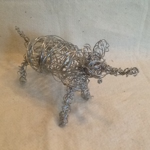 Elephant-George Reeves-One Wire Sculpture-7in x14in-$20.00