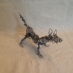 Dog-George Reeves-One Wire Sculpture-6in x 9 1/2in-$15.00