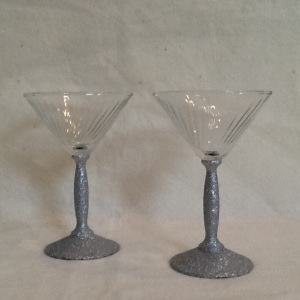 2 Silver Glitter Martini Glasses-6in tall-$16.00