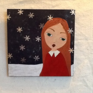 Snow Girl-Cheriann Reeves-Mixed Media on Panel-11 1/4in x 11 1/4in-$80.00