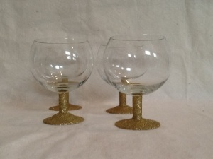 4 Gold Glitter Short Wine Glasses-5in tall-$28.00