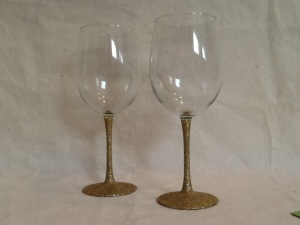 2 Gold Glitter Tall Wine Glasses-9in tall-$14.00