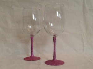 2 Pink Glitter Tall Wine Glasses-9in tall-$14.00