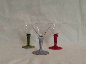 3 Hot Pink, Silver and Green Martini Glasses-4 1/2in tall-$18.00