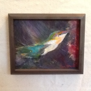 Humming Bird-Pam Grant-Acrylic on Panel-9in x 11in-$60.00