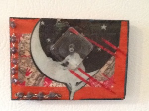 Woman on the Moon-Kimi Boylan-Mixed Media on Panel-2 1/2in x 3 1/2in-$12.50