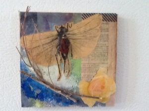 Dragonfly with Limb and Text-Kimi Boylan-Mixed Media on Panel w/Magnets-3 1/2in x 3 1/2in-$15.00