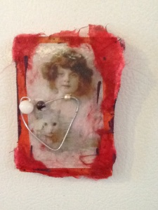 Girl with Cat and Heart-Kimi Boylan-Mixed Media on Panel w/ Magnets-4 1/2in x 3 1/2in-$12.50